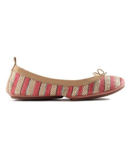 Yosi Samra Ballet Pink   Ivory Stripe Flat - Women  1fe9304cf0