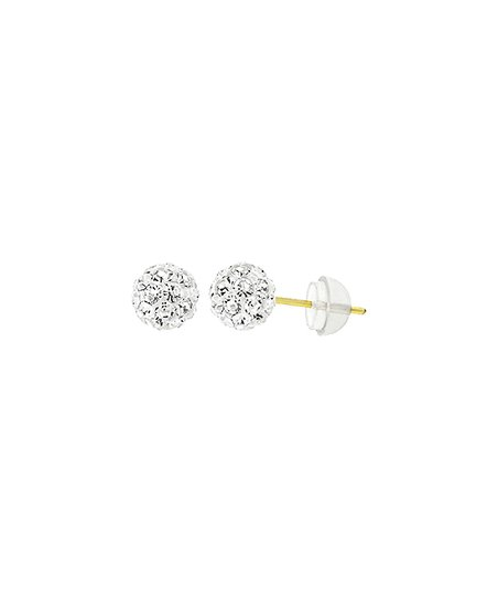 White 14k Gold Ball Stud Earrings With Swarovski Crystals