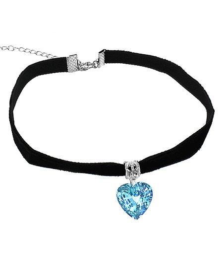 Blue love Crystal Heart Choker Necklace Velvet Fashion Jewellery