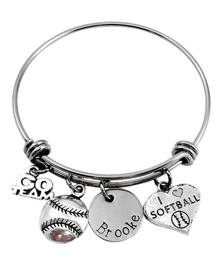 646f76769 love this product Stainless Steel 'I Love Softball' Personalized Charm  Bracelet
