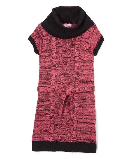 68bf6e2bb1a Dreamstar Fuchsia Purple   Black Cowl-Neck Belted Sweater Dress ...