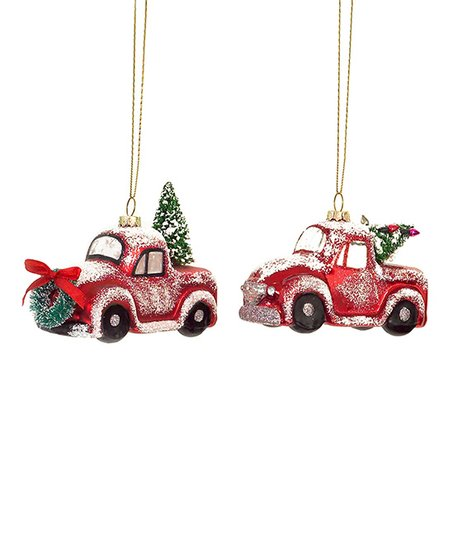 Red Vintage Truck Christmas Tree Glass Ornament Set Of Six Zulily