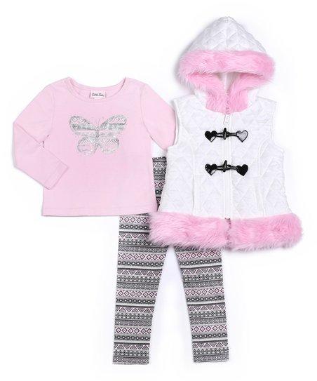 b1bf5da7c Little Lass Pink   White Faux Fur Coat Set - Toddler