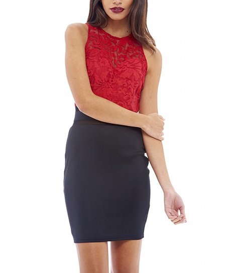 4eae43623cae love this product Red Lace Mesh Bodycon Dress - Women