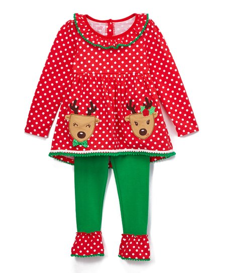 824964db777a2 Nannette Kids Red & Green Reindeer Tunic & Leggings - Girls | Zulily