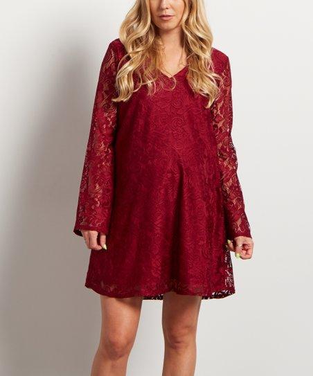 c131af6594c PinkBlush Maternity Burgundy Lace Bell-Sleeve Maternity Dress