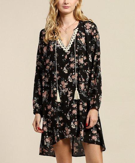 Tassels N Lace Black Floral Tassel Shift Dress Zulily