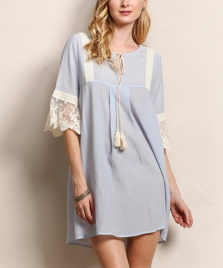Tassels N Lace Blue Ivory Lace Trim Shift Dress