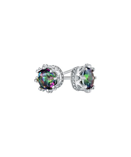 9bc579d10 love this product Multi-Color Topaz & Silvertone Crown Stud Earrings