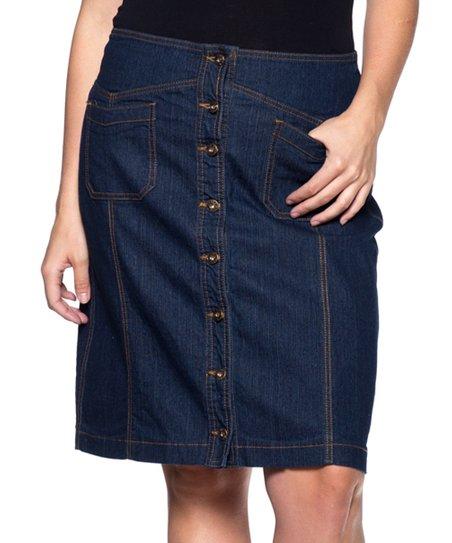 1f50150b82 love this product Dark Indigo Denim A-Line Skirt - Women & Plus
