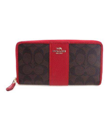 Coach Brown & True Red Signature Zip-Around Wallet
