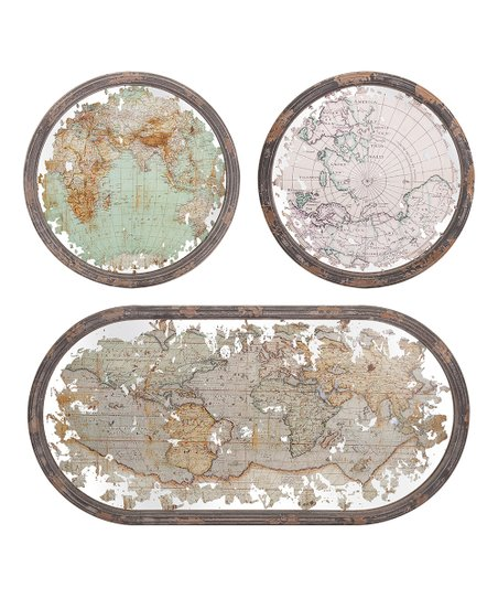 Mirrored Map Of The World.Imax Mirrored Map Wall Decor Set Of Three Zulily