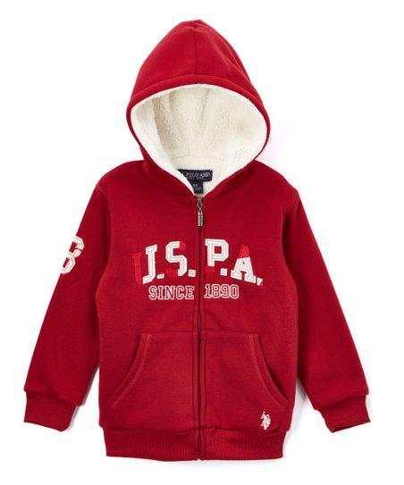 U.S Boys Zip Front Sherpa Fleece Jacket Polo Assn