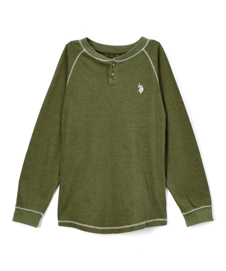 608e1d574 love this product Olive Green Heather Henley Tee - Boys