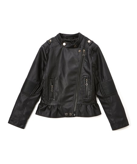 f98ea4d7e39 Urban Republic Black Ruffle Quilt-Accent Moto Jacket - Infant