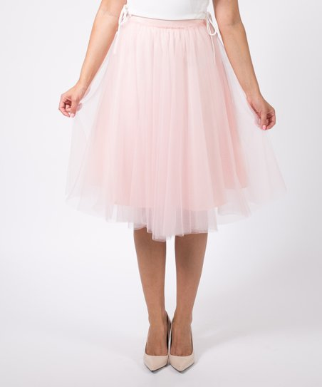 3b19f0fbc Space 46 Boutique Blush Pink Tulle Ruffle Midi Skirt | Zulily