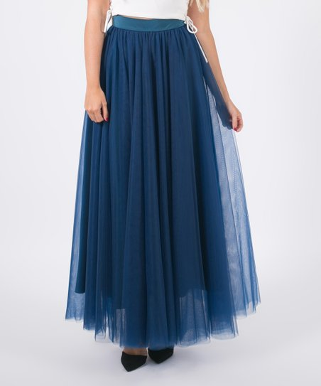 4d7fe3265d Space 46 Boutique Midnight Blue Soft Maxi Tulle Skirt | Zulily