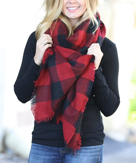 790030d81 love this product Red & Black Buffalo Check Blanket Scarf - Women's Short