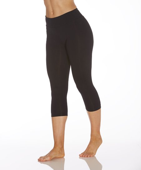 f8fd128fcbd1f Balance Collection Black Ava 18 Capri Leggings | Zulily