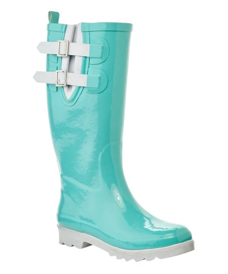 Henry Ferrera Aqua & White Blackstone Double-Buckle Rain Boot - Women