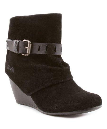 0e5579ea506 Blowfish Malibu Black Buckle Wedge Ankle Boots
