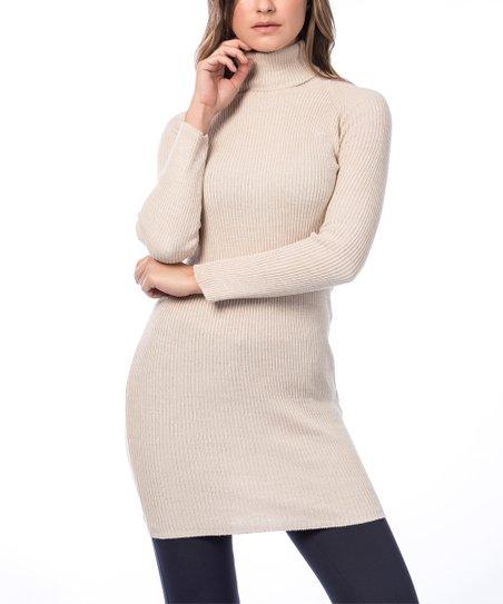 Modazade Cream Ribbed Turtleneck Sweater Dress Zulily