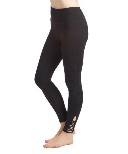 Steve Madden Black Lattice Ankle-Cutout High-Waist Leggings  5e0a09f1046