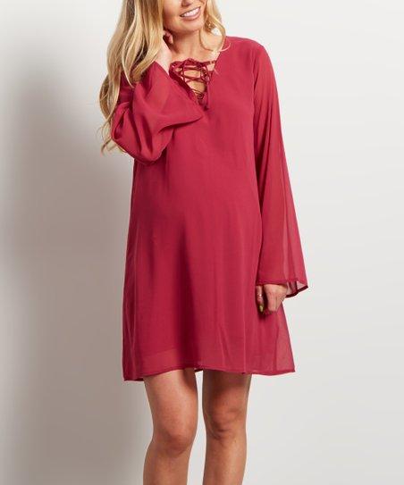 314794731ff PinkBlush Maternity Pink Chiffon Lace-Up Bell-Sleeve Maternity Tunic ...