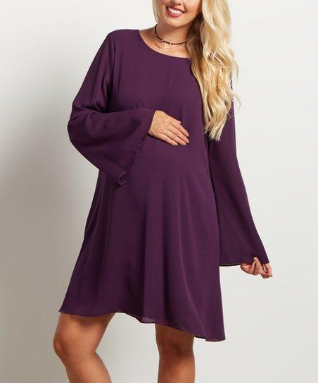 01fb915c79 PinkBlush Maternity Purple Chiffon Bell-Sleeve Maternity Dress