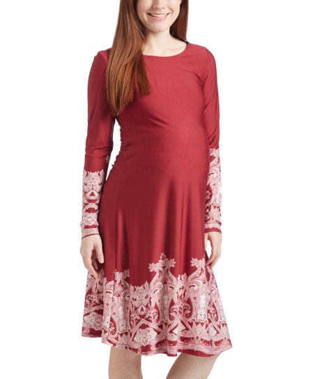 0e5bac819ef4 Burgundy   Ivory Maternity Long-Sleeve Swing Dress