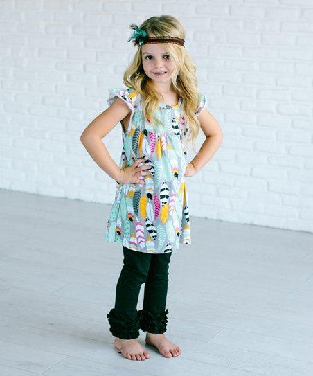 Adorable Sweetness Blue Feather Dress Black Ruffle Leggings