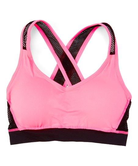 fd37a2ebca17a Pure Style Girlfriends Neon Pink Mesh-Strap Criss-Cross Sports Bra ...
