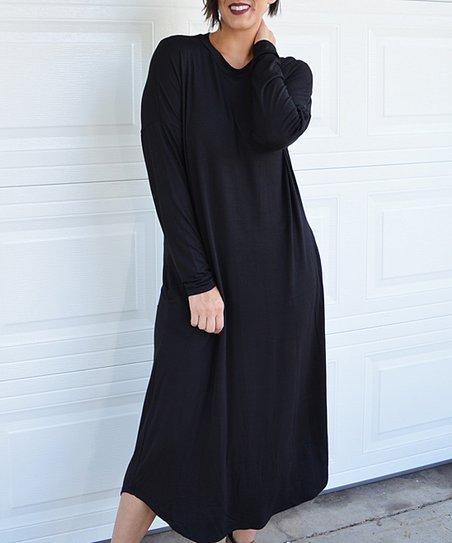 b7a86b03fee7a Tara Lynns Boutique Black Pocket Dolman Maxi Dress | Zulily