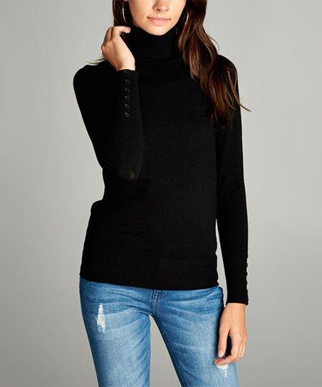 42ea11a3c12e Black Button-Sleeve Turtleneck Sweater