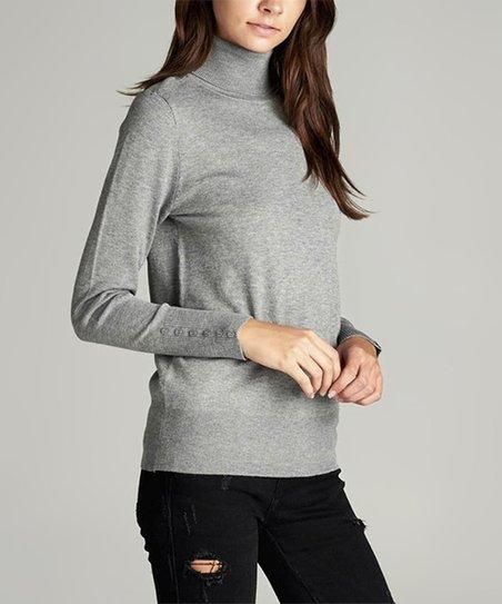 8dab805ba921 Heather Gray Button-Sleeve Turtleneck Sweater