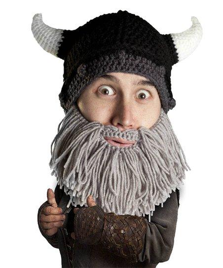 Beard Head Gray   Black Viking Beard Beanie  36b283a77f