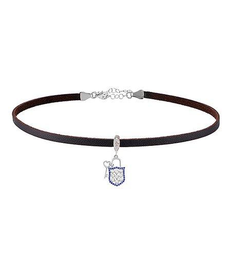 bae4bb41cccc8 GAB+COS Cubic Zirconia & Sterling Silver Lock & Key Choker Necklace