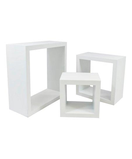 Love This Product White Floating Box Shelf Set