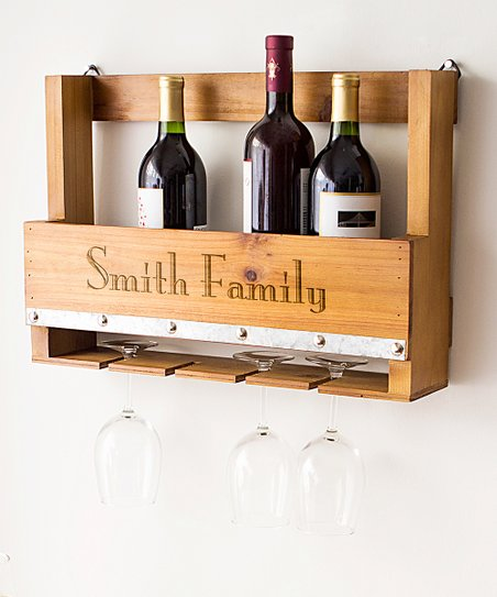 Personalized Wood Wall Mount Wine Rack