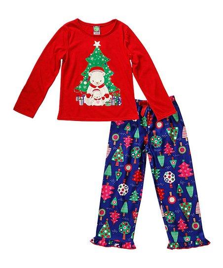 Sweet Heart Rose Red & Blue Polar Bear Pajama Set - Toddler & Girls