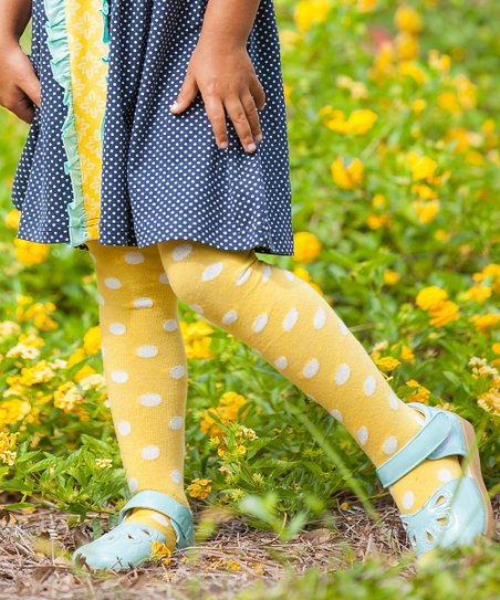 d99b5889deacb love this product Yellow Polka Dot Tights - Infant, Toddler & Girls