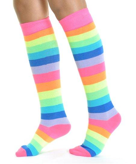 55d2fa67b84 love this product Neon Rainbow 6-Ct. Knee-High Socks - Kids