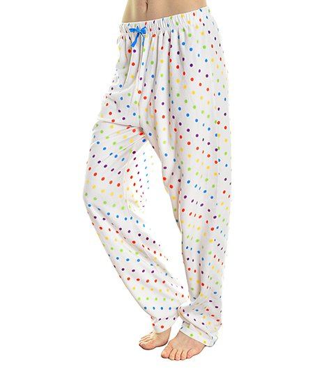 Angelina White Rainbow Polka Dot Fleece Pajama Pants Plus Too