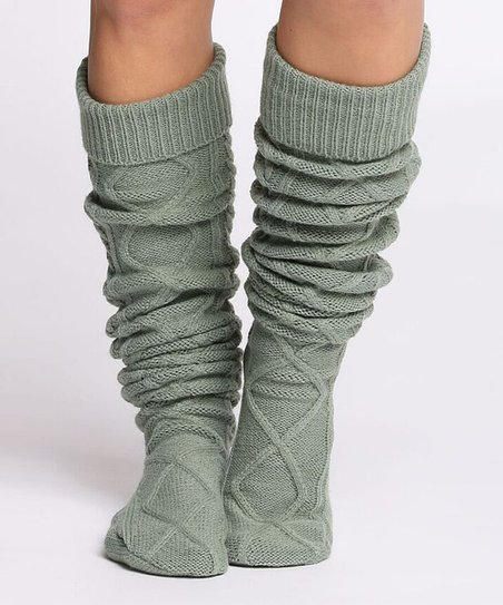 6c64922875c CoziBear Boutique Olive Cable-Knit Over-the-Knee Socks