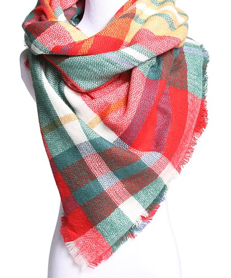 586912190d6ef CoziBear Boutique White & Green Plaid Blanket Scarf | Zulily
