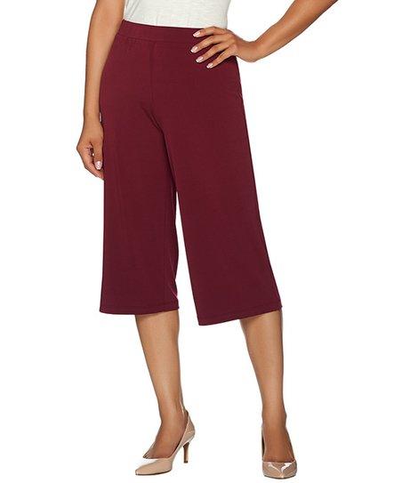 Susan Graver Burgundy Gaucho Pants Plus Too Zulily