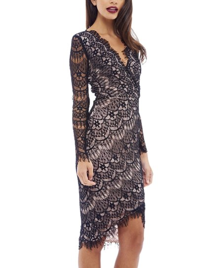 46afad08094 love this product Black   Beige Lace-Overlay V-Neck Dress - Women