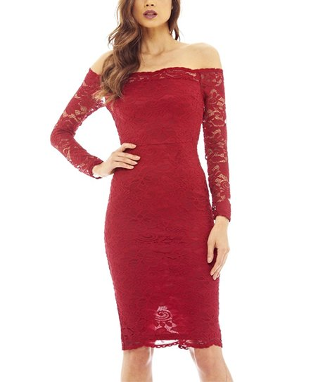 72d678bd7d93 love this product Wine Lace-Sleeve Off-Shoulder Dress - Women