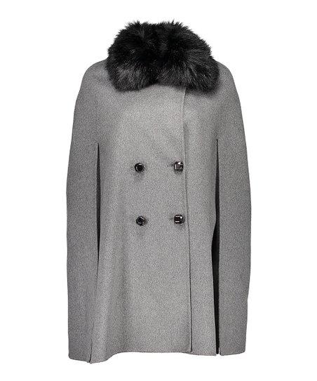 ec7a5517a184 NANETTE Nanette Lepore Heather Gray Faux Fur Wool-Blend Peacoat