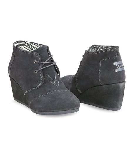 2c07bb2af35 TOMS Dark Gray Suede Desert Wedge Bootie - Women